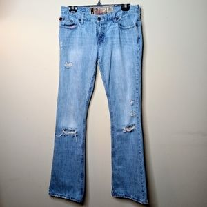 HOLLISTER Cali Distressed Destroyed Flare Jeans